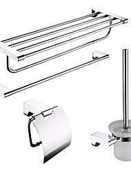 4-packed Stainless Steel Bath Accessories Set,Towel Bar/Bathroom Shelf/Paper Holder/Brush Holder