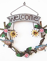 Iron Hand Draw Design Of Birds Welcome Card