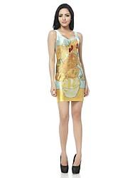 Mulher O pescoço de Van Gogh Girassol impresso Mini Tanque Vest Vestido