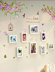 White Photo Frame Set of 8 with Wall Sticker