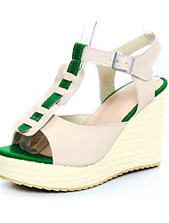 Women's Shoes Leatherette Wedge Heel Wedges Sandals Casual Pink / Beige