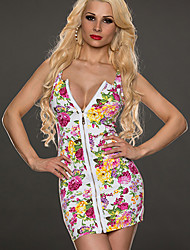 bolilai floral robe sexy de courroie d'impression moulante pour femmes