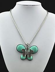 Vintage (mariposa) Tibet antigüedad de la aleación de plata de la turquesa del collar (verde) (1 PC)