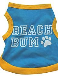 Hunde T-shirt Blau Hundekleidung Sommer Buchstabe & Nummer Lässig/Alltäglich