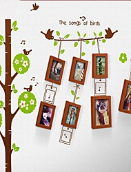 Walnut Photo Frame Set of 8 with Wall Sticker