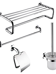 4-packed Modern Solid Brass Bath Accessories Set,Towel Bar/Bathroom Shelf /Roll Holder/Brush Holder