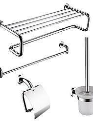 4-embalados Latão Modern Banho Acessórios Set, Towel Bar / prateleira do banheiro / Suporte do rolo / escova Titular