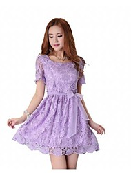 Women's Round Bow Solid Color Short Sleeve Lace Short  Dress