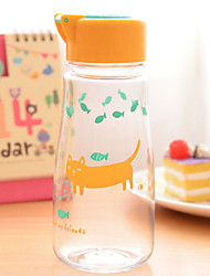 Yellow Cat Pattern Portable Plastic Water Bottle