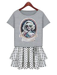 JiaSiMing Set: gola redonda manga curta Senhora Imprimir T Shirt & Pokla Dots Curto Saias (tela colorida)