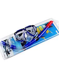 Unisexe caoutchouc silicone lunettes de plongée avec tube de respiration (couleurs assorties)