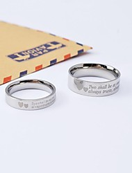 Classic Heart in Heart Titanium Steel Couple Rings