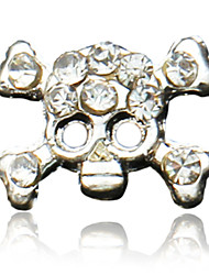 10PCS Funny Skulls Design Rhinestone Studded Nail Art Decoraions