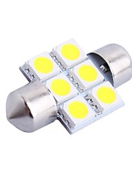 31mm 1.2W 100LM 6000K 6x5050 SMD White LED for Car Reading/License Plate/Door Lamp (DC12V, 1Pcs)