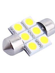 31mm 1.2W 100LM 6000K 6x5050 SMD weiße LED für Auto Lesen / Kfz-Kennzeichen / Türleuchte (DC12V, 1Stk)