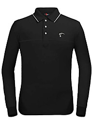 TTYGJ Men's Polyester+Spandex Long Sleeve Black Golf Shirt