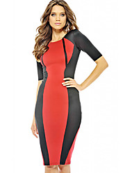 S & Z Frauen Rundhals Kurzarm Split Farbe Fit Dress