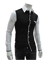 colarinho da camisa cor de contraste camisa de manga longa para homens Bote