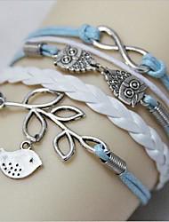Okzident Vintage Mode Eule und Blätter Woven PU-Leder-Armband