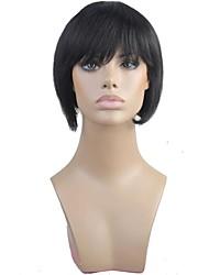 100% capelli umani Bobo breve rettilineo completa Bangs senza cappuccio parrucca nera capelli