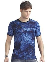 Homens Aidiaisi ® em torno do pescoço de manga curta Causal Camouflage T-shirt