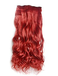 Wine Red Clip in Hari Extensions Long Wavy Hairpieces