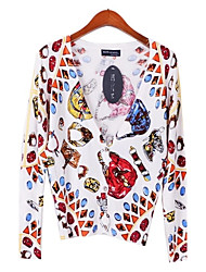 Women's V Neck Watch Printing Cardigan Sweater