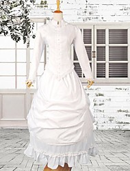 White Long Sleeve Satin Sweet Victorian Dress