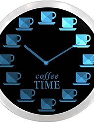 nc0718 Coffee Time Neon LED Orologio da parete Lis
