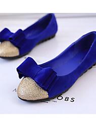 Zikafo Весна корейский стиль женщин Color Matching бантом нубука плоский каблук Дуг обувь В конфеты цвет