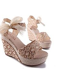 Moka Women's Bow Wedge Heel Sandals H189 Cream