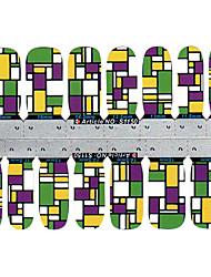 28PCS colorés Grille design Nail Art Stickers