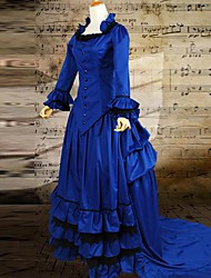 Blue Long Sleeves Cotton Mermaid style Classic Gothic Victorian Dress