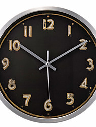 "12.5"" Silver Metal Frame Black Background Golden Numbers Wall Clock"