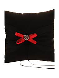 Wedding Ring Pillow In Black cetim com Bows Red And Black Polyester Banding