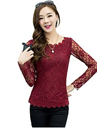Women's Lace/Solid Red/White/Black/Green Blouse , Round Neck Long Sleeve Lace