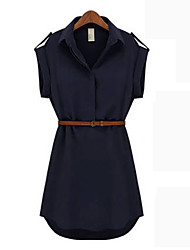 KICAI  Big Size Loose Fit Short Sleeve Chiffon Dress(Khaki,Navy Blue)