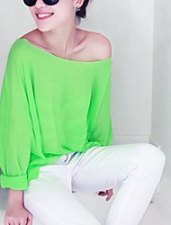 Mulheres Slit decote T-shirt cor de fluorescência