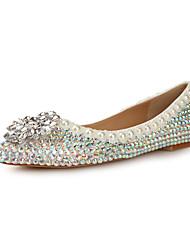 Patent Leather Women's Wedding Flat Heel Ballerina Flats with Rhinestone Shoes