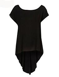 O-cuello de la cola de pato Hem T-shirt de la Mujer
