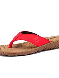 Couro da Mulher Heel flip flops Plano Chinelos Calçados (mais cores)