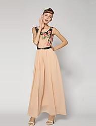 Women's Beach Swing Dress,Floral U Neck Maxi Sleeveless Blue / Beige / Brown Summer