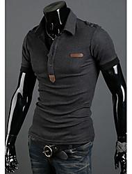 Nono Leder Standard Stickerei-Polo-Shirt (dunkelgrau)