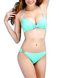 Bikini Sexy da Mulher Push-up Bra acolchoado Praia Swimsuit Maiô Swimwear SET T74
