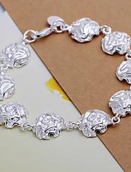 Luxury Grace Women's Full Roses Silver Plated Brass Chain & Link Bracelet(Silver)(1Pc)