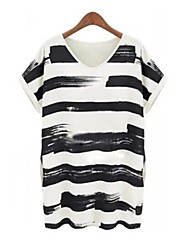 3Colors Stripe Design Loose Long Maternity Top Short Sleeve T-shirts Style Mini Dress for Pregnant Women