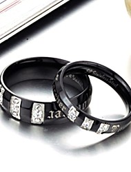 New Diamond Black Titanium Lovers Ring Fashion Personality