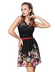 Donne sempre graziose imbottito stampato floreale chiffon del merletto linea impero vestito casuale