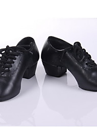 "Men's Kids' Modern Ballroom Practice Shoes Leatherette Heels Chunky Heel Black Black 1"" - 1 3/4"" Non Customizable"