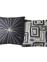 Conjunto de 2 Covers Black & White Geometric Colocação Algodão / Linho Almofada decorativa